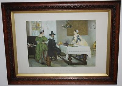 "Antique Print Between Two Fires F D Millet in Hand Carved Oak Frame 24x19"" c1936"