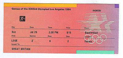 Orig.ticket   Olympic Games LOS ANGELES 1984  -  BASKETBALL // 29.07.  !!