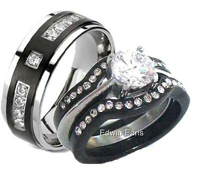 His and Hers Wedding Rings 4 Pc Black Stainless Steel & Titanium Matching Set