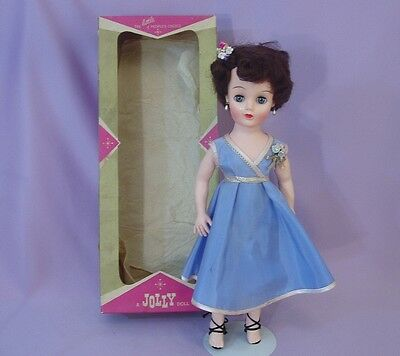 "17"" FASHION TEEN DOLL by JOLLY - ALL ORIGINAL IN BOX 1950s"
