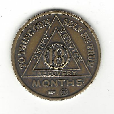18. AN 18 MONTH RECOVERY TOKEN BY AA / VINTAGE HEAVY METAL w/ SERENITY PRAYER