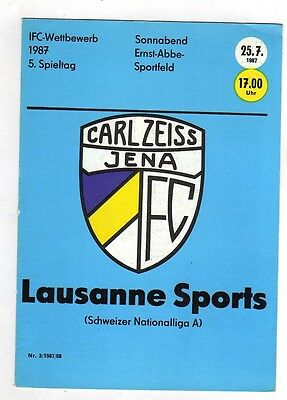 Orig.PRG   INTERTOTO Cup  1987    FC CARL ZEISS JENA - LAUSANNE SPORTS  !!  RARE