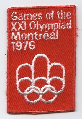 Orig.clothe badge   Olympic Games MONTREAL 1976 / OFFICIAL LOGO (red)   !!  RARE