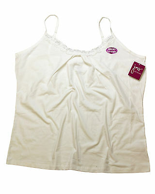 Womens Camisole White Lace accented Cotton Tank Top Just My Size