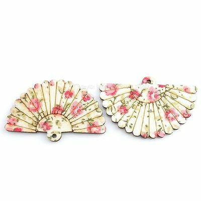 20pcs 143298 New Wholesale Carved Flower Fan Charms Wooden Pendant Lots