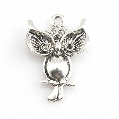 20x 144164 New Wholesale Vintage Silver Owl Animal Charms Pendant Fit Necklace