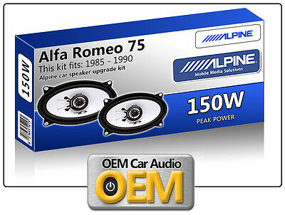 Alfa Romeo 75 Front Door speakers Alpine car speaker kit 150W Max power 4x6