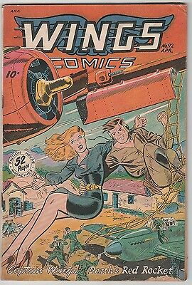 Wings Comics #92,great Girl Cover,solid Book!