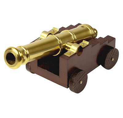 Small Naval Military Cannon Brass On Wooden Carriage Navy 12cm