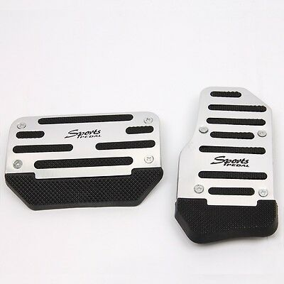 2 Pcs Universal Car Auto Foot Pedal Plate Brake Pad Covers Kit Automatic Silvery