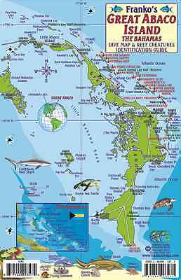 Great Abaco Island Bahamas Dive Map & Reef Creatures Franko Laminated Fish Card