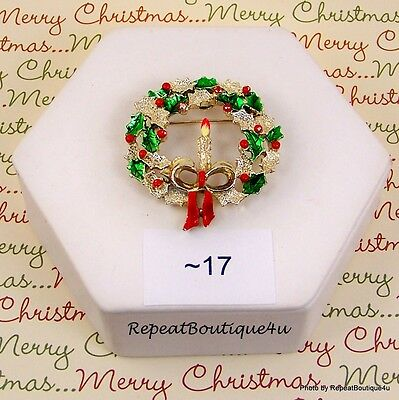 `17 Vintage GERRY's Christmas CANDLE WREATH Pin Brooch Goldtone Red Green Enamel