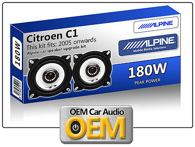 "Citroen C1 Front Dash speakers Alpine 10cm 4"" car speaker kit 180W Max"