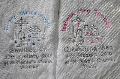 Personalised Baby Shawl Church Design Christening Day Baptised On Gift Pink/Blue