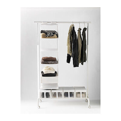 Ikea Rigga Adjustable Clothes Rail With Shoe Rack, White Black Shoe Box Storage