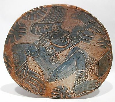 BEAUTIFUL SIGNED STUDIO ART POTTERY DISH MODERNIST MAN WITH BIRD ABSTRACT