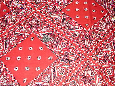 Red, White and Black Handkerchief Print, Vintage Feedsack, Feed Sack Fabric