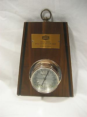 Vintage 1976 UNION CARBIDE Safety award Thermometer  wall plaque