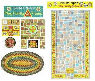 Vintage Fisher Price Little People 990 A-Frame Replacement Lithos Stickers Decal