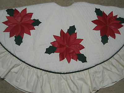 """New Poinsettia 66"""" Christmas Tree Skirt Aplliqued Quilted Heirloom Holiday Gift"""