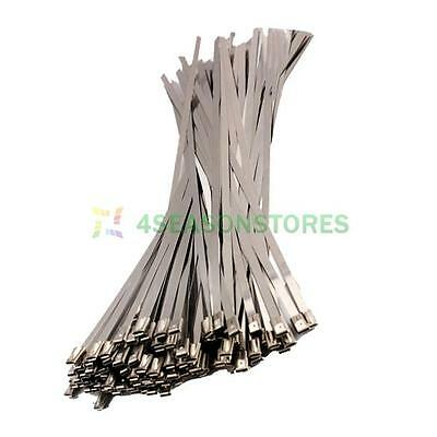 100PCS Stainless Steel Exhaust Wrap Locking Cable Zip Ties Header Wrap 4.6x300mm