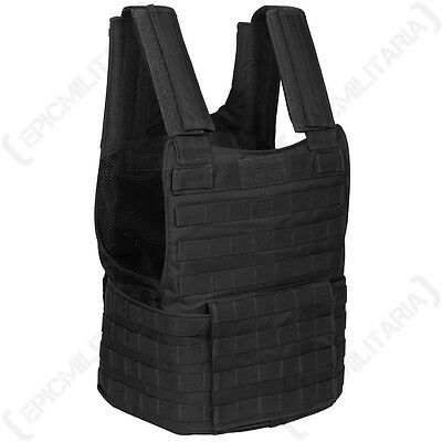 Army Black PADDED TACTICAL MOLLE ASSAULT VEST Airsoft Paintball Combat Rig Top