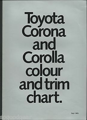 TOYOTA CORONA COROLLA COLOUR AND TRIM CHART SALES BROCHURE September 1983