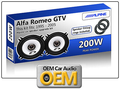 Alfa Romeo GTV Front Door speakers Alpine car speaker kit with Adapter Pods 200W