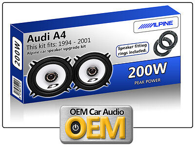 "Audi A4 Front Door speakers Alpine 13cm 5.25"" car speaker kit 200W Max"