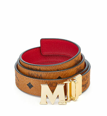 Authentic MCM Color Visetos Reversible Gold Belt Red  for Women MYB6AVC09RU