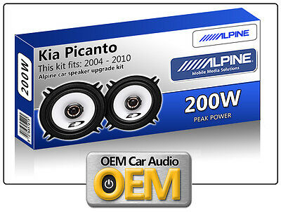"Kia Picanto Front Door speakers Alpine 13cm 5.25"" car speaker kit 200W Max"