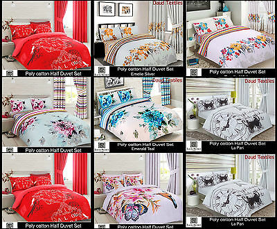 Luxury 3Pcs Printed Poly-Cotton Duvet Set & Pillow Cover Bed Bedding