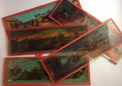 "5 VINTAGE MAGIC LANTERN GLASS SLIDES, 3 1/8""x9 1/2"", 4 EP ERNST PLANK, CIRCUS +"