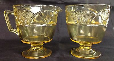 Rosemary amber Depression Glass sugar and creamer set by Federal Glass 1935