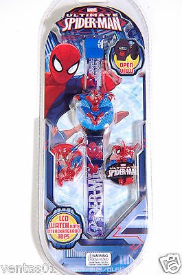 Spider Man Ultimate Children Lcd Watch With Interchangeable Tops Spm125