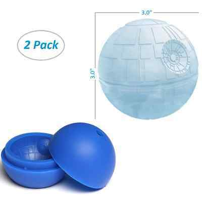 Silicone Death Star Wars Mould Round Ball 3D Ice Cube Mold Maker Tray - 2 pack