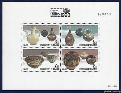 1992 THAILAND POTTERY '93 EXHIBITION STAMP SOUVENIR SHEET S#1520a MNH PERF FRESH