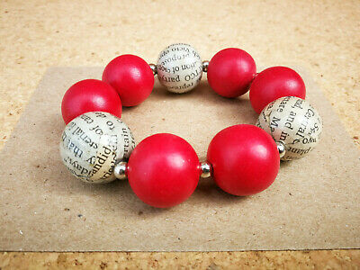 Recycled Newspaper & Red Wood Beads Elasticated Bracelet Fair Trade & Eco