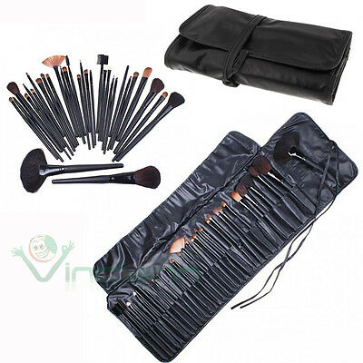 Kit set 32 Pennelli+Custodia per trucco makeup ombretto blush fondotinta terra