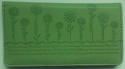 NEW Womens Christian FRUIT OF THE SPIRIT Light Green LUX LEATHER CHECKBOOK COVER