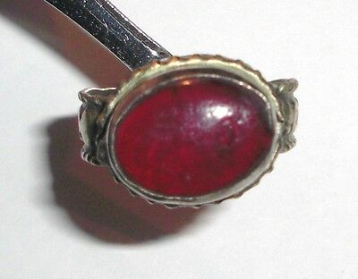 Handmade vintage ring from Uzbekistan with Red Stone