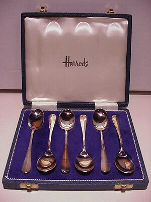 Vintage Set of 6 Demitasse Rat-Tail Silverplate Spoons from Harrods, London