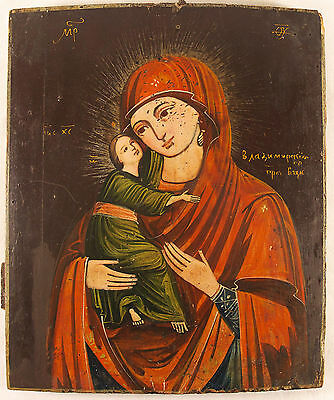 Antique Russian Hand Painted Icon of  Vladimirskaya MOTHER  OF GOD 18 century