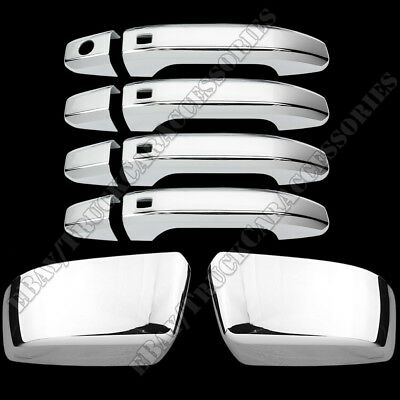 For 2015 16 17 18 Chevy Tahoe GMC Yukon XL Chrome Mirror 4 Door Handle Cover w/S