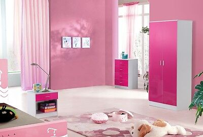 High Gloss Pink and White Trio Bedroom Set
