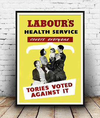 Labour Party, Vintage British electoral advertising poster reproduction.