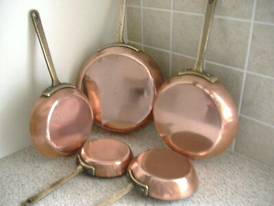 5 copper and brass frying pans