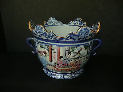"""CHINESE BLUE & WHITE PLANTER W/TWO HANDLES,WITH FIGURAL DECORATIONS, 8 1/2"""" T"""
