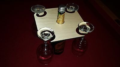 WINE GLASS CADDY - 2 or 4 Glass options - Personalized Engraving - wood wooden