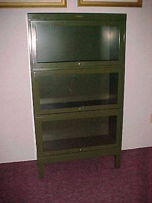 METAL BARRISTER LAWYER BOOKCASE SHAW-WALKER INDUSTRIAL EAMES ERA EXCELLENT COND